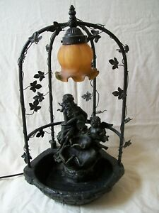A Vintage 1997 Large Indoor Cherub Water Feature with Glass Light Shade. No Pump