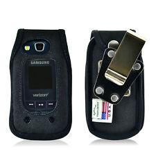 Samsung Convoy 4 Flip Phone Fitted Case Black Nylon Metal Clip Turtleback