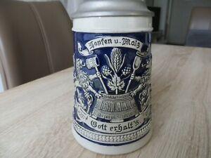 GERZ Bierkrug Humpen mit Zinndeckel - Hopfen und Malz Gott Erhalt´s - Löwen