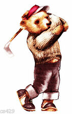 "4"" Golfing bears sports golf bag swinging fabric applique iron on character"