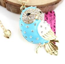 Pendant Betsey Johnson Jewelry Rhinestone Blue owl Charm Gold Chain Necklaces