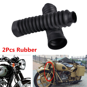 2Pcs Black Motorcycle Front Rubber Gaiter Boots Fork Shock Absorber Dust Cover