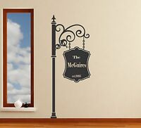 Family Sign personalized wall decal removable street sign sticker mural decor