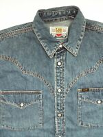 LEE DENIM SHIRT MEN'S REGULAR FIT SNAPS MEDIUM MID BLUE LSHT660
