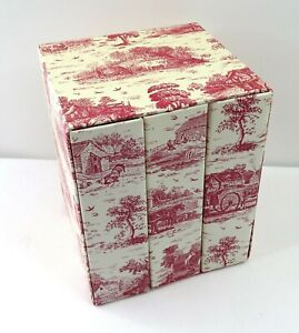 Vintage-look Red French Country Toile Mini Photo Album Boxed Set