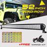 "52INCH 3600W Quad-Row CREE LED Work Light Bar Spot Flood Truck Offroad 42/50/54"""