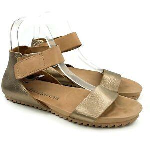 PEDRO GARCIA Women's Rose Gold Leather Metallic Ankle Strap Sandals Sz 8