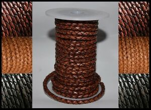 3mm 4mm & 5mm ANTIQUED BRAIDED BOLO REAL 100% LEATHER HIGH QUALITY THONG CORD