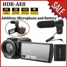 HDR-AE8 3.0'' 4K HD 16X 1080P WIFI Recorder Digital Video Camera + Mic + Battery