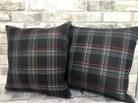 """2 X 17"""" CAMPERVAN CUSHION T5 T6 T4 VW CADDY TARTAN FABRIC FAUX LEATHER NEW RED"""