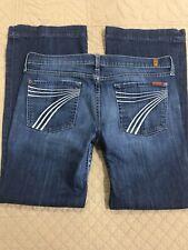 7 For All Mankind Dojo Womens Jeans Denim Blue Flare Size 32 READ Description