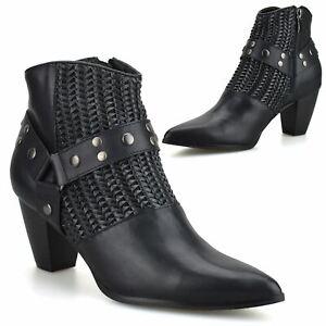 Womens Mid Block Heel Zip Up Chelsea Ankle Cowboy Biker Buckle Boots Shoes Size