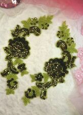 "Sequin Appliques Olive Lime Beaded Rose Floral Mirror Pair Patch 9.5"" (280)"