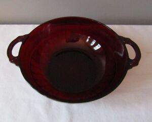 "Anchor Hocking Royal Ruby Red Glass Coronation Serving Bowl 8"""