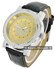 mens diamond 2 tone sand business clubbing watch ice out black leather Maxx