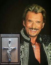 Croix Johnny Hallyday 6.3 x 4.8 cm Acier + Signature + cordon 3 mm offert!!