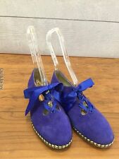 Rara Avis Blue Suede Shoes Womens Size 5.5 Medium Ribbon Lace Up Loafers
