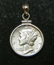 US Mercury Dime Sterling Pendant 1945