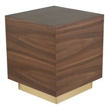 "21.8"" Tall Side Table Solid Walnut Recessed Brushed Matte Gold Plinth Base"