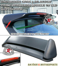 TR-Style Rear Roof Spoiler Wing (ABS) + 3rd Brake Light Fits 96-00 Civic 3dr