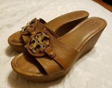 "Tory Burch Patti 3"" Wedge in Royal Tan Leather with Gold Logo, Size 8"