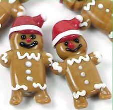 4 Lampwork Handmade Glass Christmas Gingerbread Men Beads 30mm