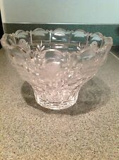 Lead Crystal Cut Glass Snack/Fruit Dish, Tulips and Stems Design Lovely Vintage