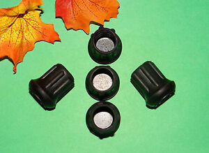 """(5) NEW 3/4"""" BLACK RUBBER CANE TIPS FOR WALKERS, CRUTCHES, WALKING STICKS, ETC."""