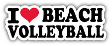 I Love Beach Volleyball Car Bumper Sticker Decal 6'' x 2''