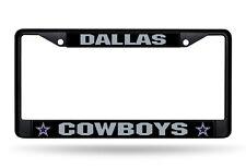 NFL Dallas Cowboys Black Chrome License Plate Frame Thin Gray Letters