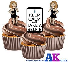 12 x Selfie iphone Female Sexy Black Dress Fun Edible Cake Toppers Decorations