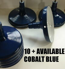 "18"" Maxolite Cobalt Blue Porcelain Light Fixture Shade Industrial Barn vtg One B"