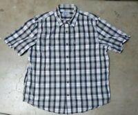 Carhartt Relaxed Fit Black Tartan Plaid Button Up Short Sleeve Shirt Men's XL