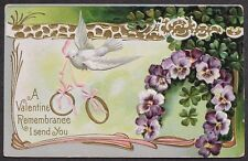 White DOVE w/ Pink Ribbon & GOLD Wedding Bands Pansy Wreath Valentine pc 1913