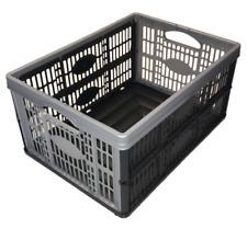 PLASTIC FOLD FLAT STACKABLE STORAGE FOLDING CRATES BOXES 32 LITRE