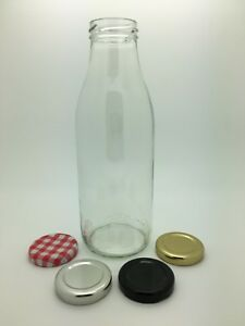 6 x 500ml Glass Milk Bottles Vintage Retro Juice, Sweets, Milkshakes -43mm lid