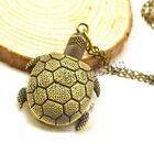 Retro Vintage Antique Bronze Quartz Necklace Pendant Turtle Pocket Watch Gift