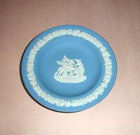"Wedgwood Blue Jasperware Small Trinket Dish Collector Plate 4.5"" England Vintage"