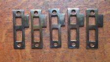 Five New Brass Plated Door Jamb Strike Plates - Antiqued