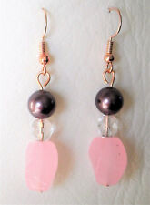 Pink quartz and brown shell pearl drop earrings rose gold plated hook 5cm