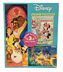 Ceaco Disney 3-in-1 Jigsaw Puzzle Beauty Beast Mickey Minnie Camping Coffee Shop