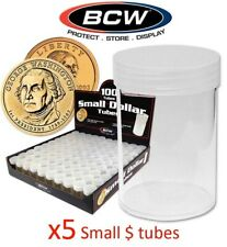 5 Round Small Dollar Coin Storage Tubes Clear Plastic Screw Caps BCW 5 Lot 26mm