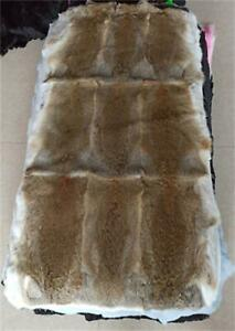 "Real Tanned Rabbit FUR Throw Blanket Skin Fur Rug Tan 42 x 22"" Pelz Leather Pelt"