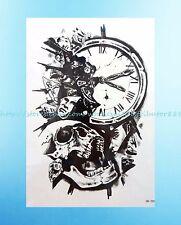 "Halloween skull clock totem 8.25""extra large temporary arm tattoo skin decal"
