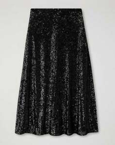 Pure Collection Sequin Midi Skirt - Black Sequin - UK 12 - RRP £140