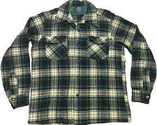 Vintage Pendleton Loop Collar Board Shirt M Plaid 60s Green White Yellow