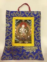 Tibetan Buddhist Silk Brocade Vajrasattva small wall hanging/ Thangka/ Banner