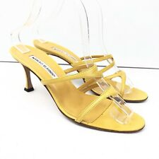 MANOLO BLAHNIK Women's Sandals Yellow Leather Heels Size 39 Strappy