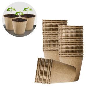 100Pcs Grow It Biodegradable FIBRE 6cm POT Round Plant Seed Seedling Flower Pots