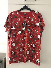 Ladies Red Mickey Mouse Christmas T-shirt Size 12-14 M Medium BNWT